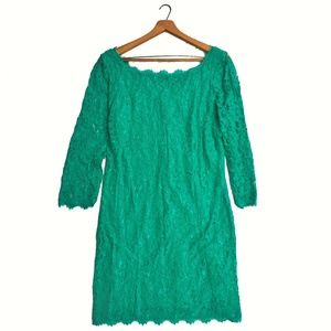 {Diane Von Furstenberg} Zarita Emerald Lace Dress